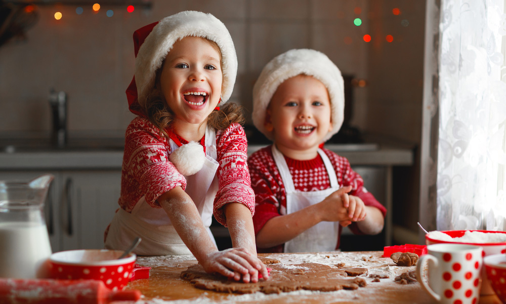 Kids making holiday cookies